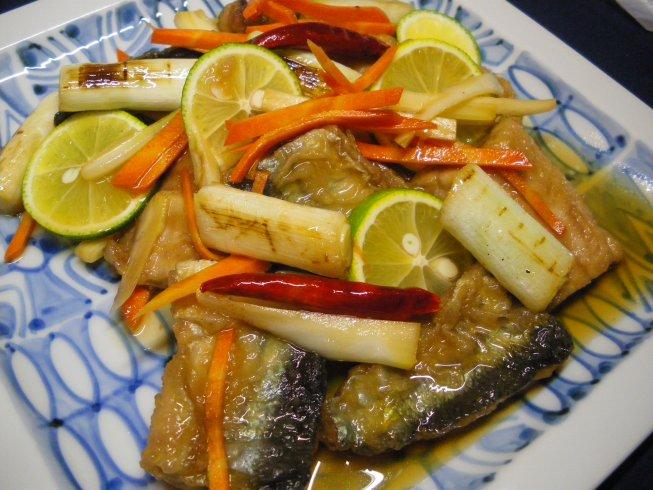 13.秋刀魚の南蛮漬け 焼き葱とすだちの香り.jpg